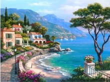 Hand-painted Mediterranean Landscape Oil Painting on Canvas – Sea Pattern, Modern Seascape Painting for Wall Decoration