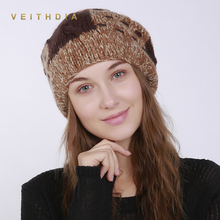 VEITHDIA Handmade Women'S Skullies Beanies Hats Winter Warm Hats Fashion Cap Slouchy Classic Style with Rabbit hair ball