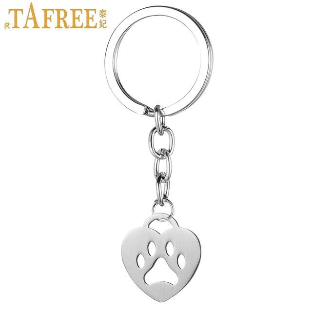 TAFREE fashion heart shaped dog bear paw print pendant keychain stainless steel