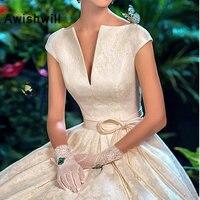 Vestido de Noiva, винтажное свадебное платье трапециевидной формы с коротким рукавом, на шнуровке сзади, свадебное платье принцессы на заказ