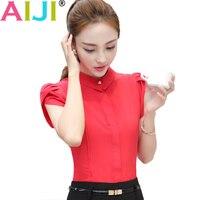 AIJI Summer Elegant Women S Short Sleeve Shirt OL Turn Down Collar Chffon Blouse Tops Ladies