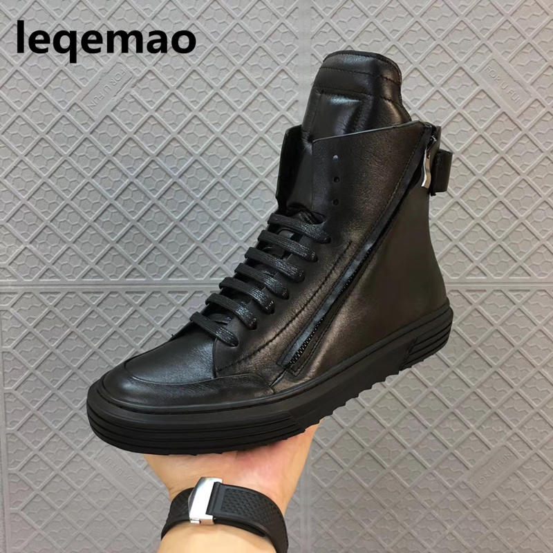 Hot Sale Fashion Comfortable Men Casual Shoes Soft genuine leather High Top Zipper thick sole heighten man shoes Size 38-44 vmuksan hot sale suede leather shoes men high quality lace up men casual shoes new style comfortable men s spring shoes