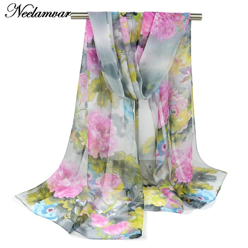 2019 šátek tenký šifon hedvábný šátek Feminino doplňky dámské letní opalovací pláště Muffler Foulard Sjaal Cachecol