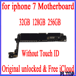 Image 1 - 32GB 128GB 256GB for iPhone Motherboard without Touch ID 100% Original unlocked for iphone 7 4.7 inch Mainboard with IOS System