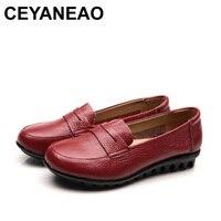 CEYANEAO New mothers Fashion Genuine Leather single shoes soft comfortable elderly flat shoes anti skid large size women shoes