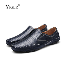YIGER New Men Loafers 2019 Spring Genuine leather man Crocodile pattern boat shoes male Casual Fashion Slip-on Leisure 248