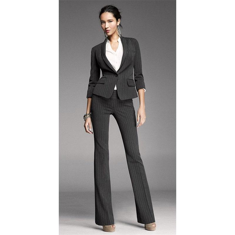 Women Pant Suits Black White Stripes Office Uniform Two Piece ...