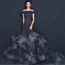 robe de soriee 2018 New Mermaid Off the Shoulder Long Prom Gowns Sexy Organza Formal Evening Party Dress vestidos noiva