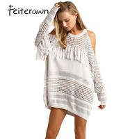 Feiterawn 2017 Summer Women Sexy Loose Cold Shoulder Pullover Fringe Knit Hollow Out Full Length Beach