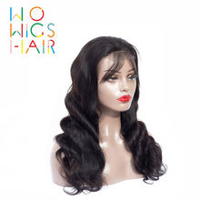 Wowigs волосы 360 парики Волнистые remy 100% человеческие Бесплатная