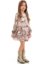 New Baby Leopard lace Dress Girls princess Temperament flowers bow long-sleeved Dresses Children's clothing wholesale