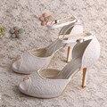 Wedopus MW677 Mulheres Plataforma Sandálias de Casamento para a Noiva de Salto Alto de Renda Branca