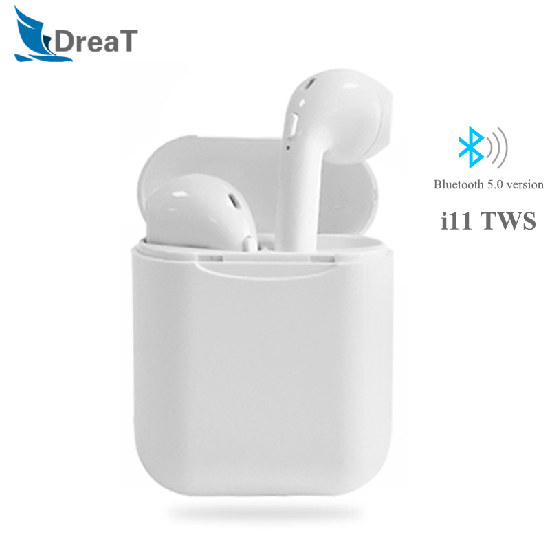 i11 TWS Wireless Bluetooth 5.0 Headsets Headphone Ear pods Super Bass Stereo Earbuds with Mic Noise Cancelling For Iphone pk i9s