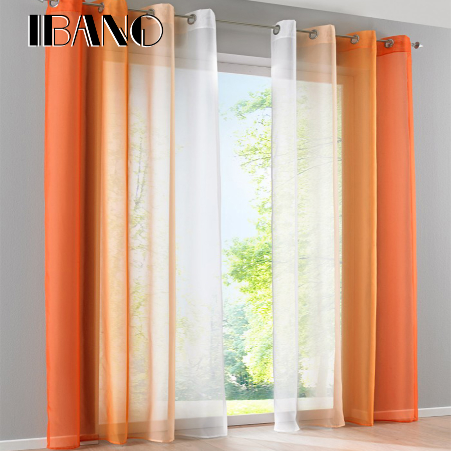 New Design Gradient Color Voile Curtains French Window Blinds Sheer Panel Divider Holes Voile Curtains For Living Room 2pcs Set