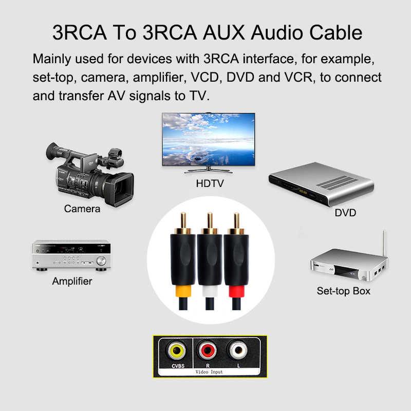 EGRINCY 3RCA כדי 3 RCA זכר לזכר אודיו כבל מצופה זהב AV כבל 3X RCA Plug כבל וידאו עבור DVD VCD ממיר טלוויזיה מגבר