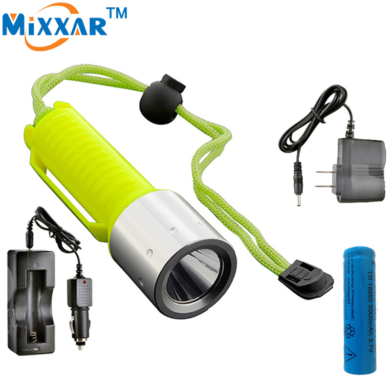 LED Diving Flashlight CREE XML T6 2000LM Lantern Lamp Rechargeable Linternas by 18650 Underwater Diving Scuba Flashlights