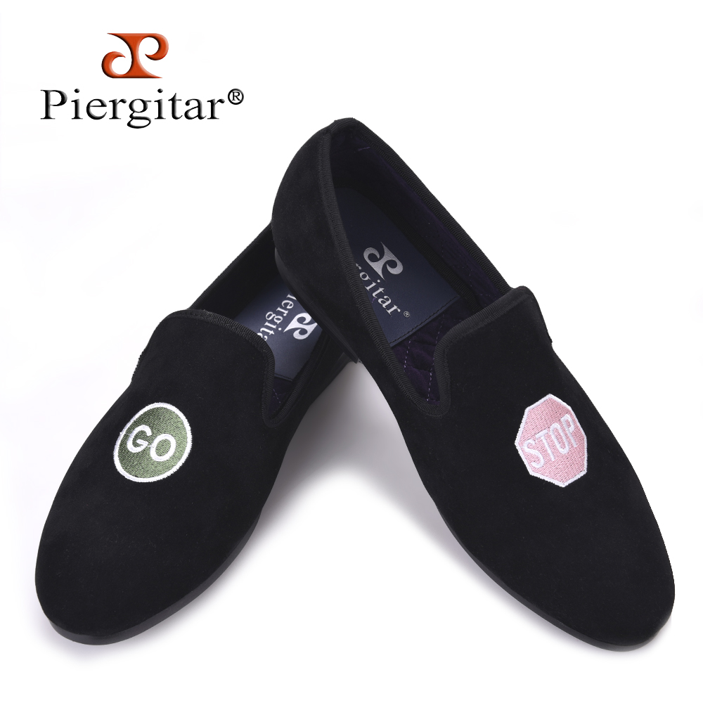 Piergitar Handmade men velvet shoes with a variety embroideries British style men smoking slippers Party and Prom men loafers handcraft men velvet shoes with bird embroidery british style smoking slippers fashion party and wedding men dress loafers