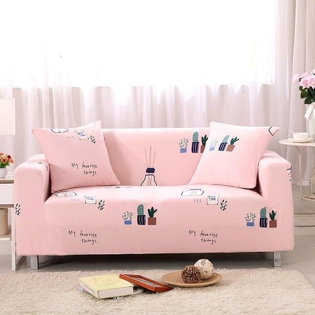 Pink universal stretch sofa cover for living room,plants print ...
