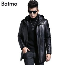 Batmo 2019 winter sheepskin white duck down hooded jacket casual men's warm coat