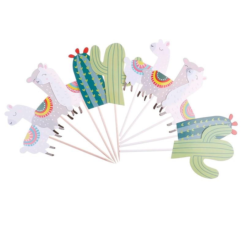 5pcs/lot Alpaca Cactus Cake Topper Party Decorations ...