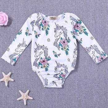 2018 New Cartoon Unicorn Baby Girls Infant Baby Girls Long Sleeve Unicorn Romper Jumpsuit Babies Body Clothing