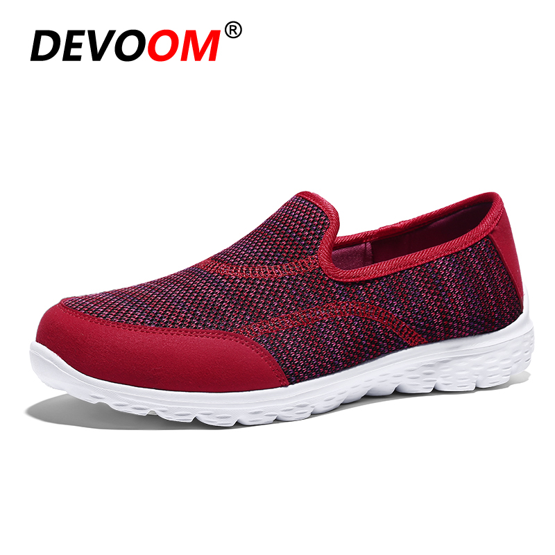 New Arrival Zomer Slip-on Mesh Shoes Woman 2018 Loafer Fashion White Sole Light Womens Sneaker Shoes Designer Flats Big Size 41