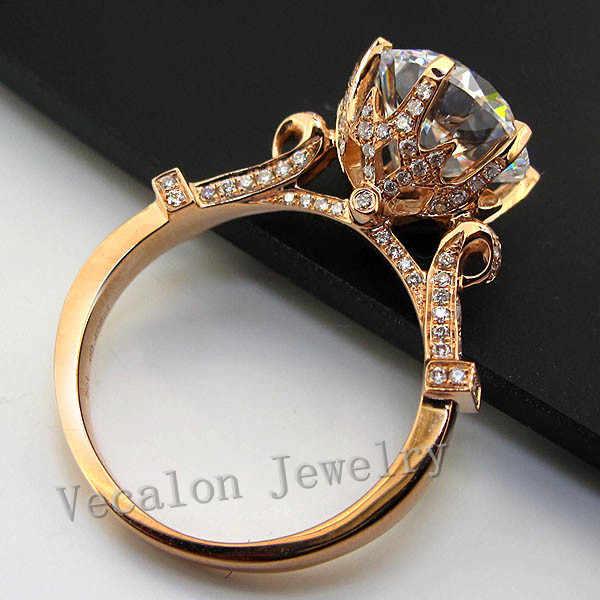 Vecalon luxus Rose Gold Crown hochzeit ring für frauen Runde cut 3ct AAAAA Zirkon Cz 925 Sterling Silber Weibliche Band ring
