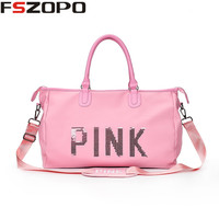 Pink Portable Outdoor Shoulder Bag Sport Gym Bags For Women Men Fitness 2018 Waterproof Sport Duffle Bags