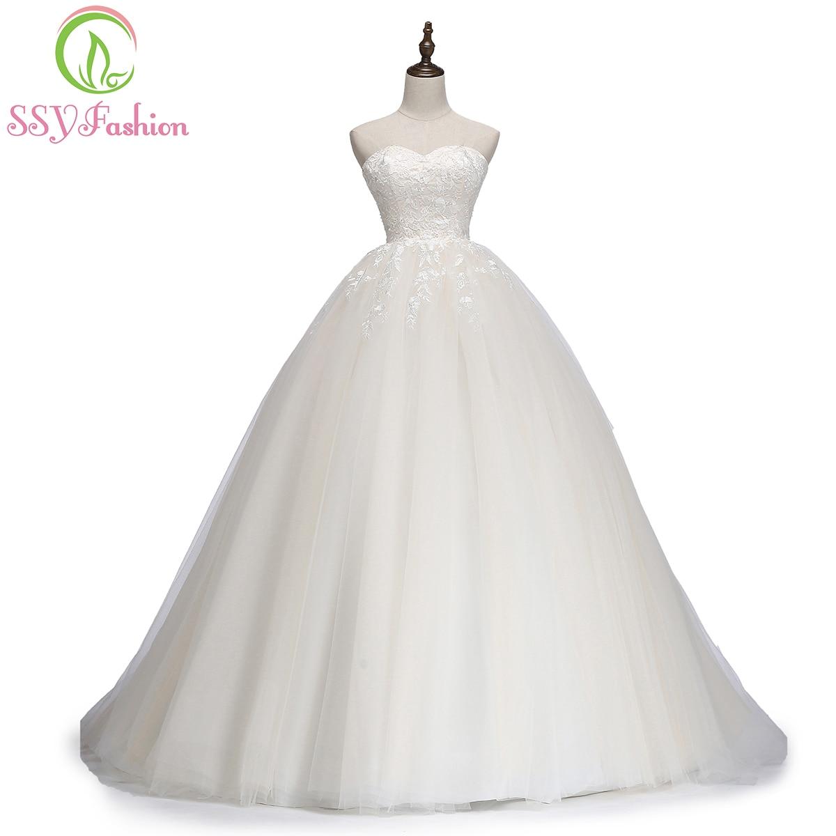 Ssyfashion Long Sleeve Wedding Dresses The Bride Elegant: SSYFashion New Simple Elegant Champange Lace Wedding Dress