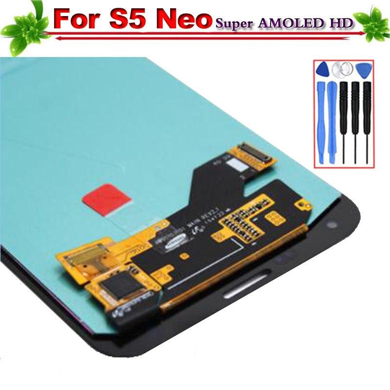 100% Testato per Samsung Galaxy S5 Neo G903F LCD Display Super Amoled Touch Assemblea di Schermo per la Galassia S5 Neo G930 di ricambio