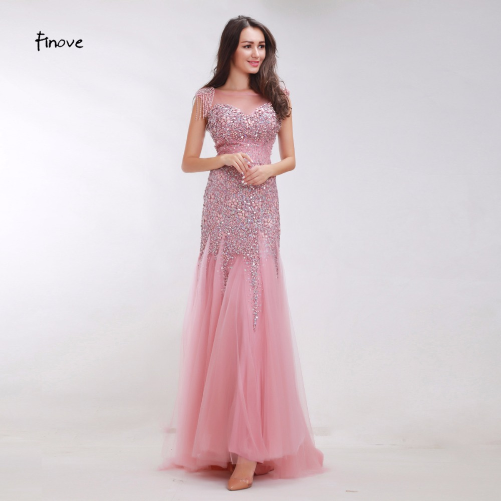 Finove Pink Prom Dresses Long 2019 New Mermaid Evening Dresses Crystal beading Low Back Long Party