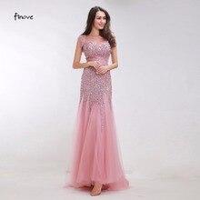 Finove, розовые платья для выпускного вечера, длинные, новинка, Русалка, вечернее платье с кристаллами, бисер, низкая спина, Длинные вечерние платья, Robe De Soiree