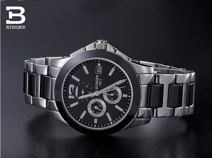 e0e6c1fd2ad Click here!! De luxo Da Marca Suíça BINGER relógios de Pulso Mecânicos ...