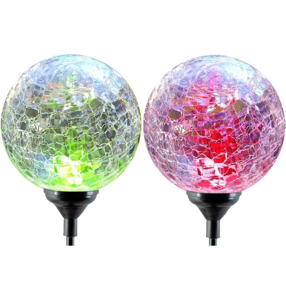 2pcs/box Solar Garden Stake Lights outdoor lighting Cracked Crystal Glass  Globe Color Changing LED Solar Lawn lamp garden deco-in LED Lawn Lamps from  Lights ...