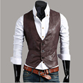 Fashion Nightclub Stage Costumes Men PU Leather Vest Men Slim Fit Sleeveless Waistcoat Vest Wedding Host Clothing For Men