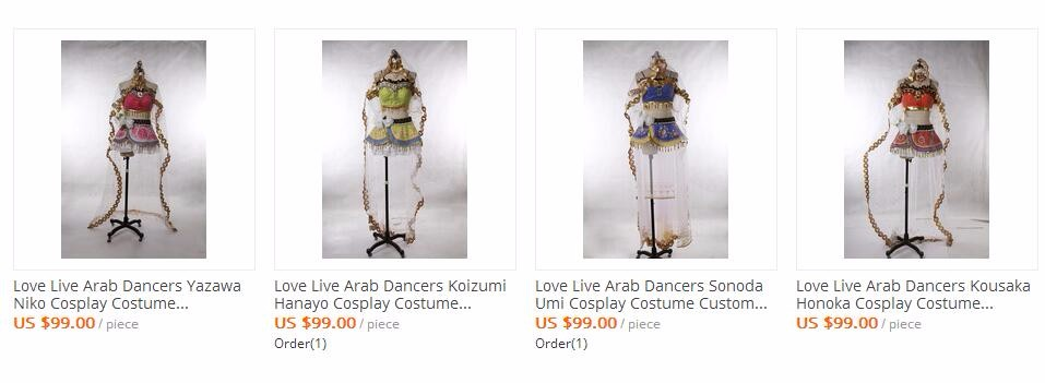 Love Live Arab Dancers Yazawa Niko Cosplay Costume Custom Made Any Size