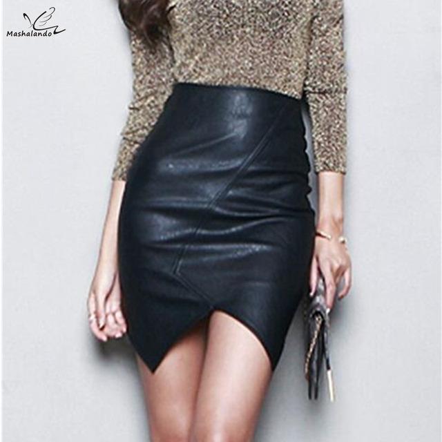 Nueva Asimétrica Faldas De Cuero Corta de Las Mujeres 2016 Delgado Atractivo Delgado paquete Cadera Saia Feminina Cintura Alta Falda Del Lápiz S ~ L Negro Jupe