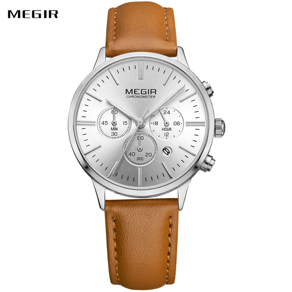MEGIR Top Brand Luxury Women Quartz Watch Leather Strap 3 Working Sub dials Chronograph Calendar Clock Fashion Ladies Wristwatch