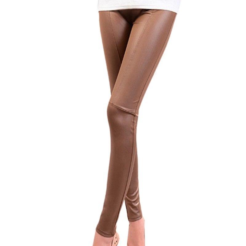 Women Pants Slim High   Legging   Womens Leggins Solid Novelty Pants Ladies Ankle-length Imitation Leather Pantalones
