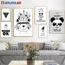 AFFLATUS Indian Bear Panda Nordic Poster Wall Art Canvas Painting Black White Posters And Prints Pictures For Living Room