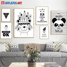 AFFLATUS Indian Bear Panda Nordic Poster Wall Art Canvas Painting Black White Posters And Prints Wall Pictures For Living Room(China)