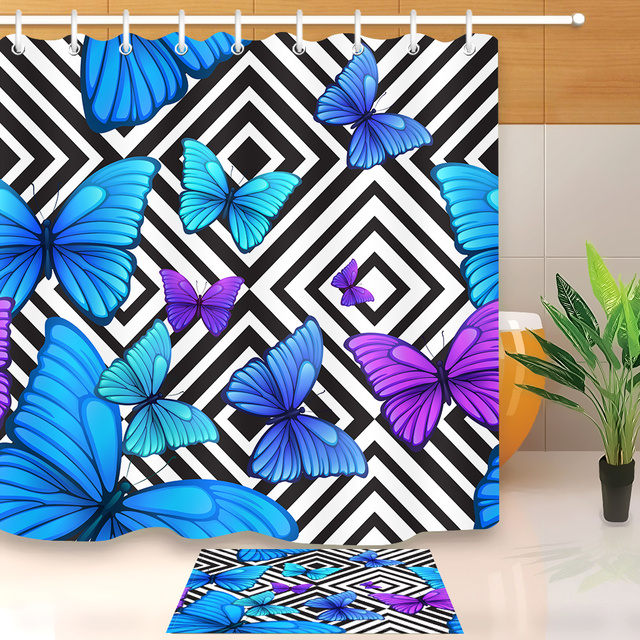 LB Blue Butterfly Black And White Shower Curtains Geometric Bathroom Curtain Fabric Polyester With Mat Set