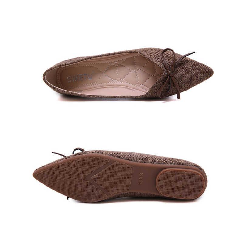SIKETU femmes ballerines appartements de mode noeud papillon sans lacet femmes appartements concis dame décontracté chaussures plates ballerines pour femmes grande taille
