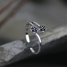 9mm chic double flowers open ring antique silver 925 sterling-silver-jewelry wedding anris kpop bijoux