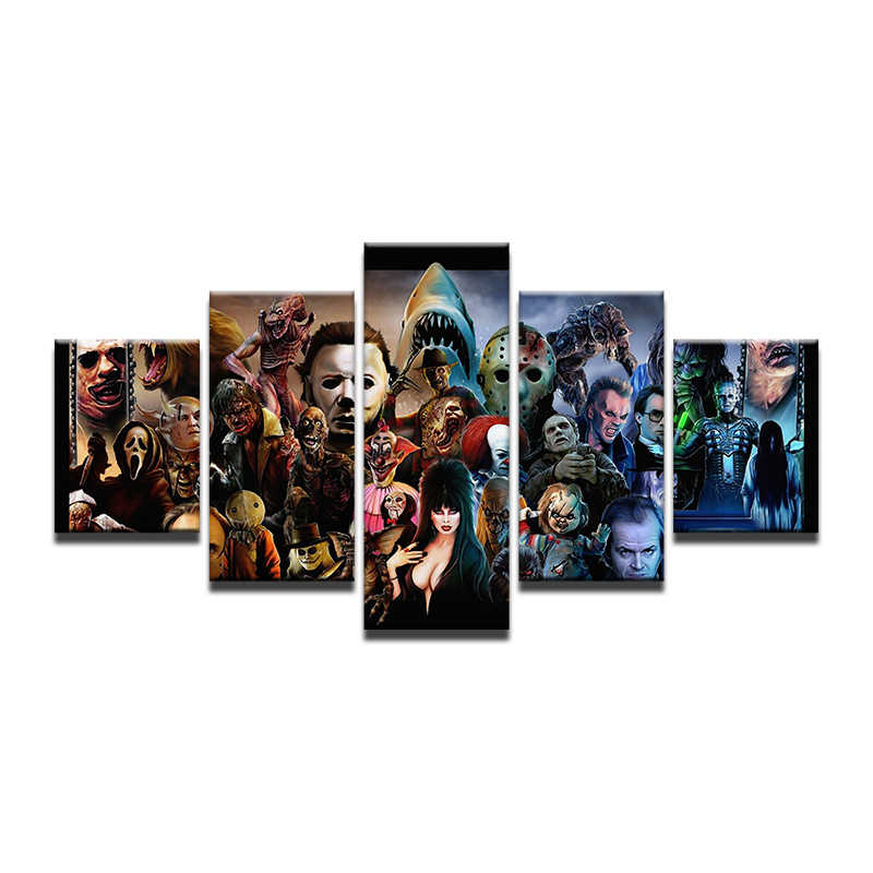 5 Piece Modern Horror Movie Characters Poster Painting On Canvas Wall Art Picture For Living Room Decor Silent Hill Print Poster