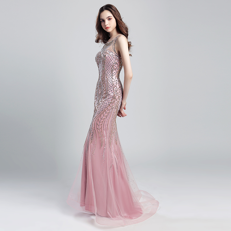 Vintage Blush Luxury Beading Mermaid Evening Dresses 2018 Long Illusion  Tulle Rhinestone Women Maxi Prom Party Gowns OL029-in Evening Dresses from  Weddings ... 50c48b323427