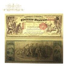 10 шт./лот 1875 год США $5 доллар золотые банкноты в 99.9% золото поддельные бумажные деньги для деловых подарков