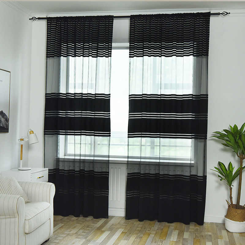 Europe Knitted Tulle Curtains for Living Room Window Screen Transparent  Fabric Black/ White/Grey Sheer Bedroom Door Curtain