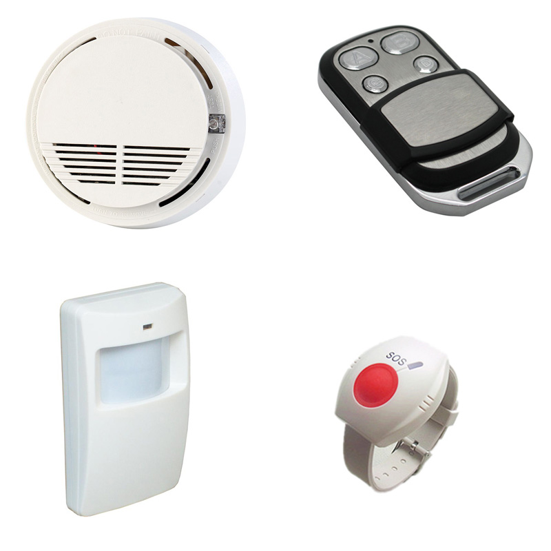 Motion Sensor Wireless PIR Detector SOS Panic Button Smoke Detector Fire Alarm Remote Controller GSM For Smart Alarm System 2 receivers 60 buzzers wireless restaurant buzzer caller table call calling button waiter pager system