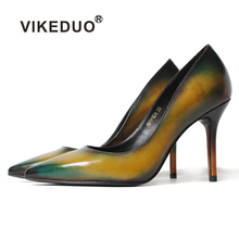 Vikeduo Classic Handmade Patina Women Genuine leather Shoes Fashion Party Dancing Wedding Dress Shoe for Ladies High Heel pumps